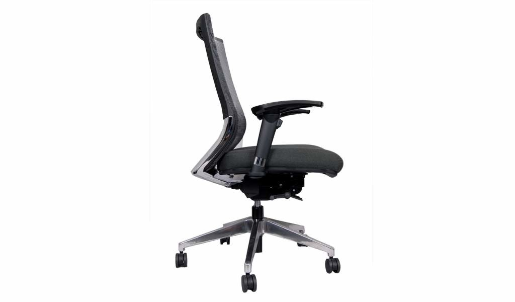 side view of ergonomic medium back office chair