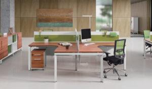 modern office with L shape modular desking system