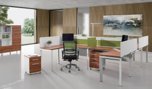 Plus shaped work space desk