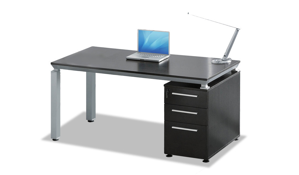 compact office desk in dark oak veneer finish