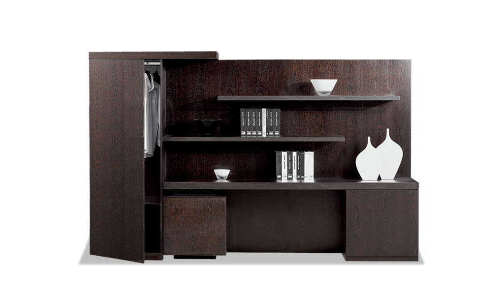 large office cabinet & bookshelf in dark wood
