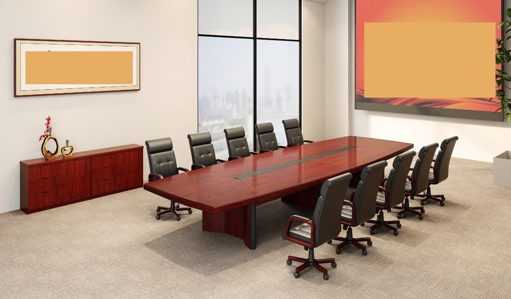 meeting room with elegant wooden table and leather chairs
