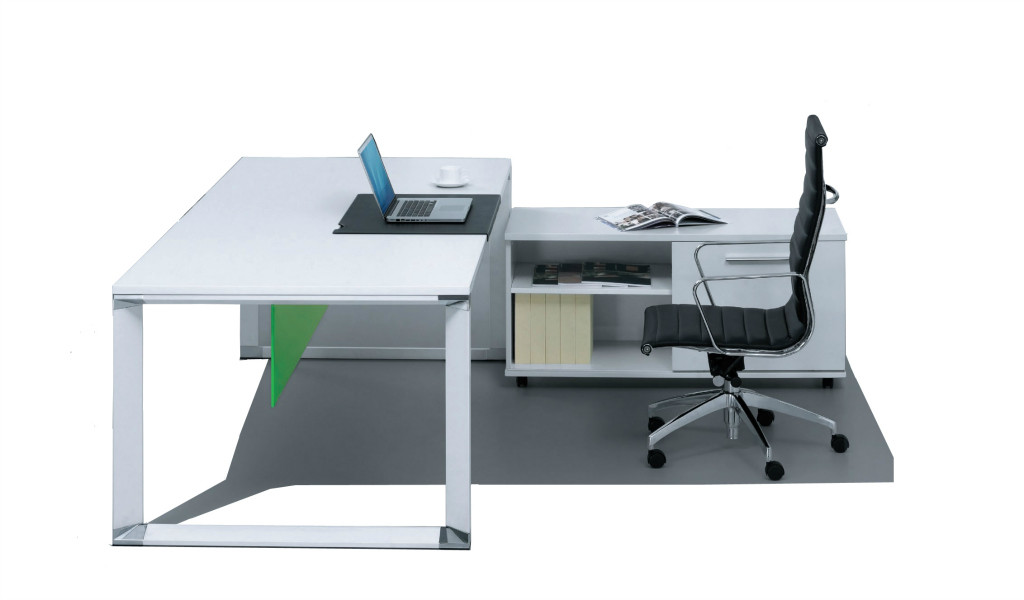 white office desk with sleek metal legs and side credenza