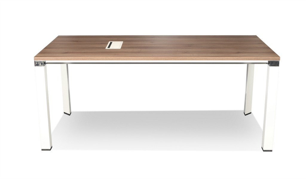 six seater meeting table with walnut top