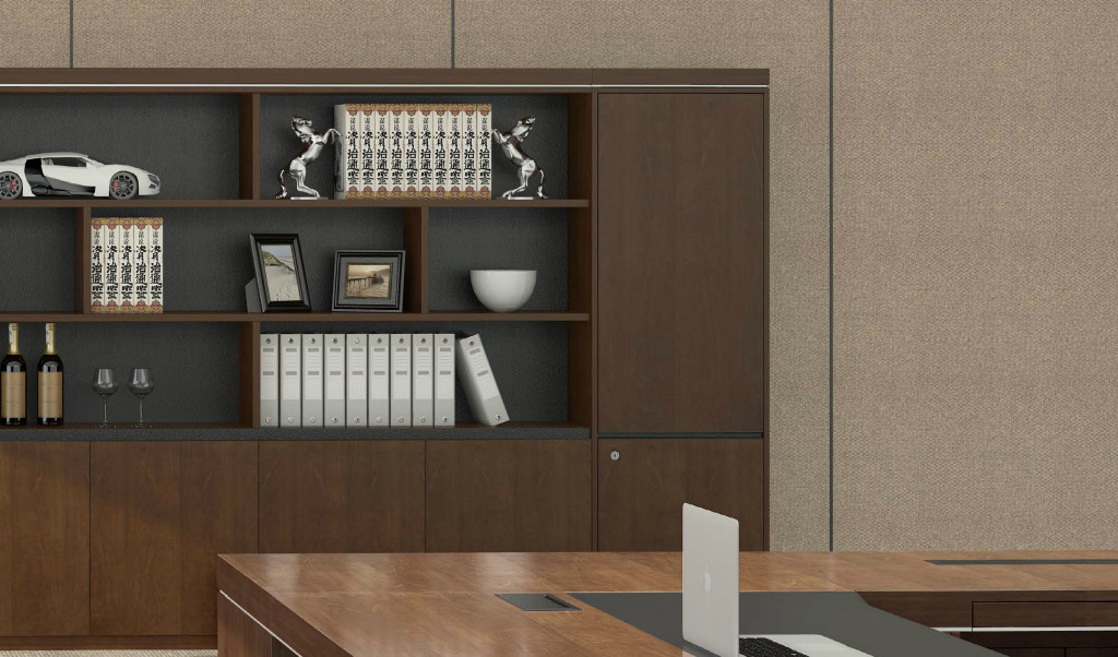 walnut veneer finish cabinet and bookshelf with office desk