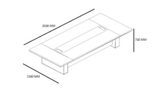 shop drawing of 11 feet Dx series conference table