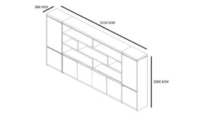 shop drawing of 12 feet office cabinet and book case