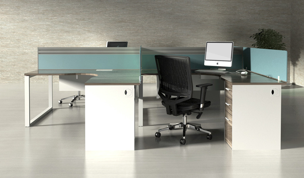'Linz' Shaped Workstation Clusters with Pedestal