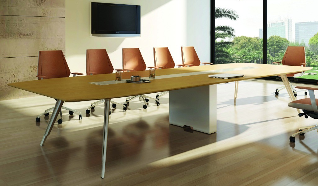 modern meeting room with stylish table and chairs