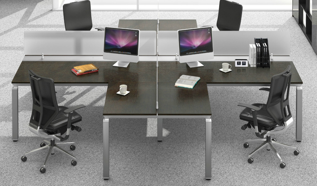 modern office with dark wood finish L shape workstations with chairs