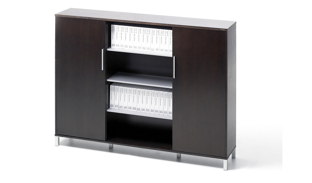 office cabinet and bookshelf in dark veneer