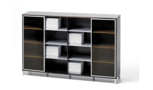 book case with glass doors and open shelves