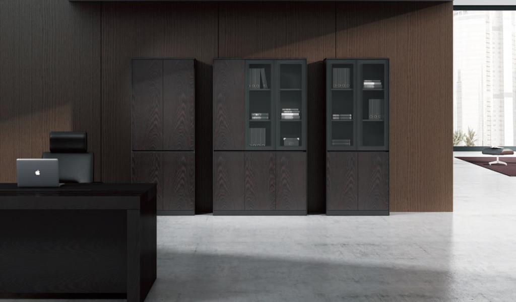 four door office cabinet with glass doors