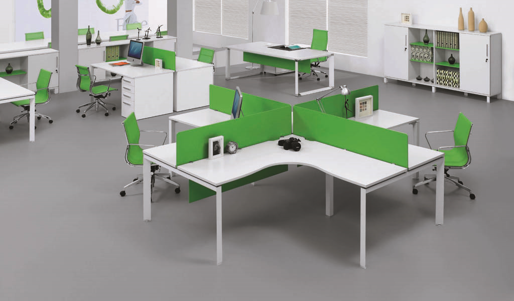 4 Seater Modular Desking System 'E-Half - Plus'