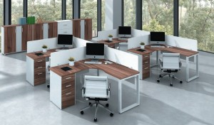 Laminate Workstation Furniture 'Linz' Shaped