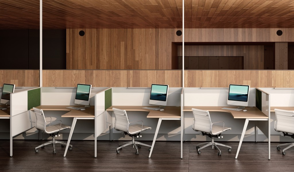 L shape modular workstations with chairs