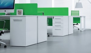 White & Green Workstation 'E-Half - Linear'