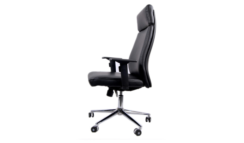 black leather office chair with headrest