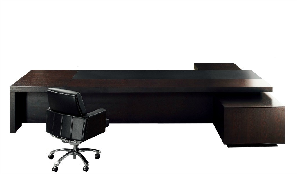 large office desk in dark wood and leather finish