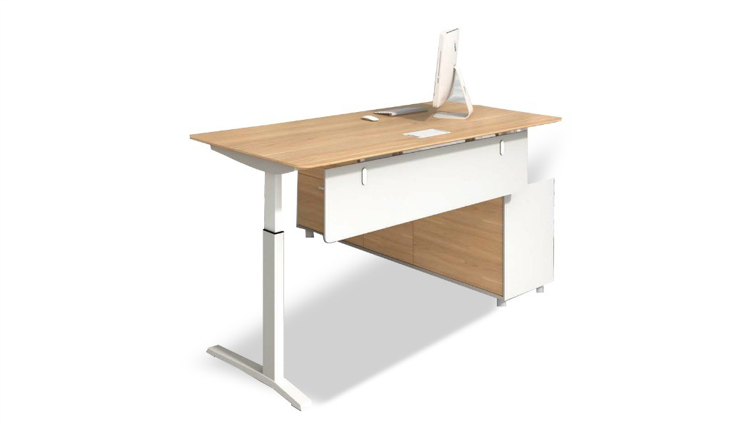 L shape executive desk with motorized height adjustment