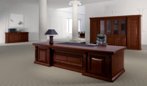 elegant office cabin with large office table in solid wood finish