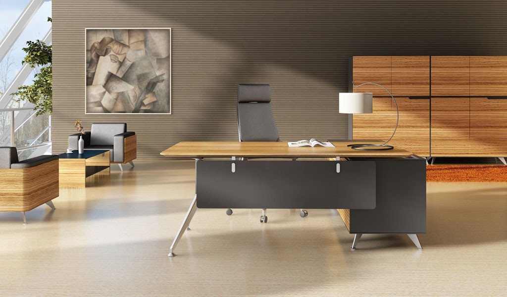 posh office cabin with zebra veneer office desk and credenza