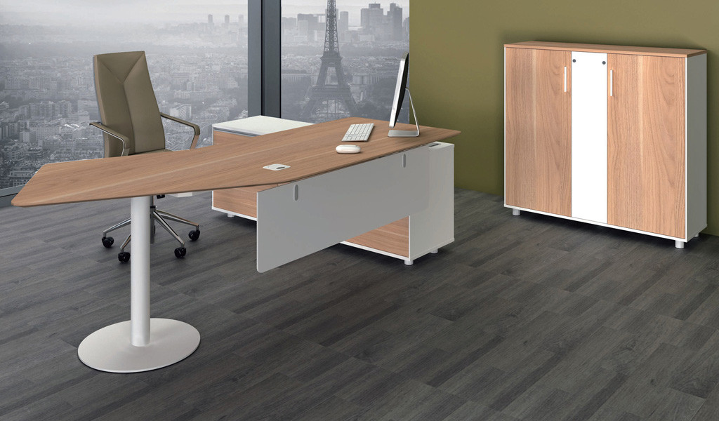 modern office desk with curved top and side cabinet