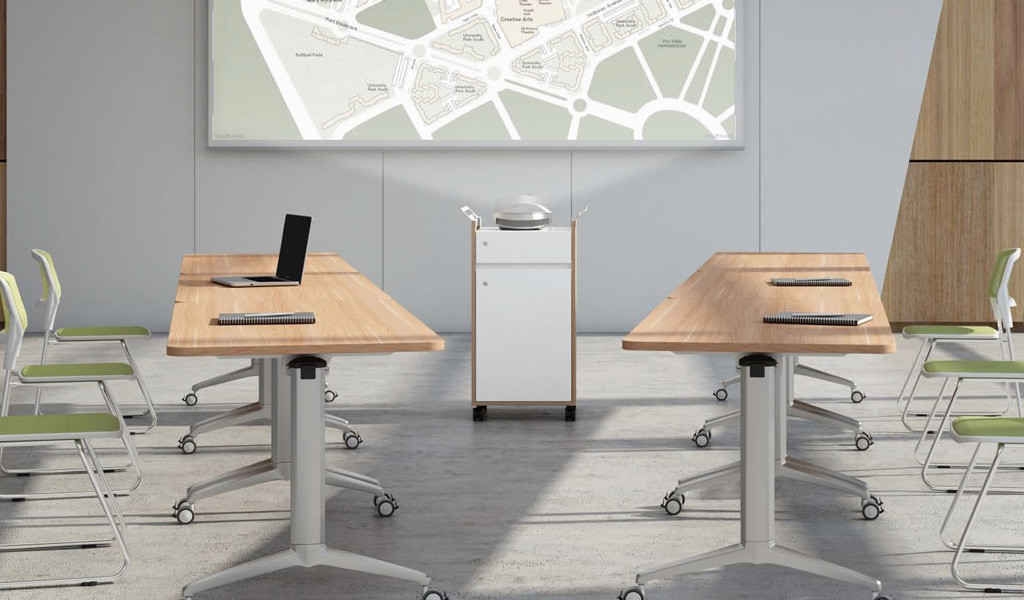 light wood training table with castors