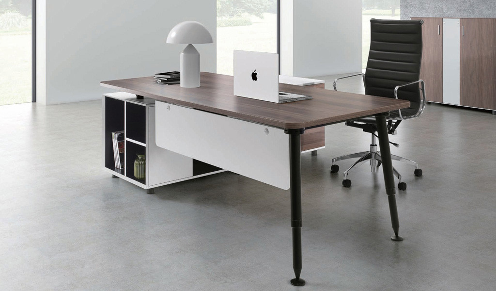modern office with desk, side cabinet and black leather chair