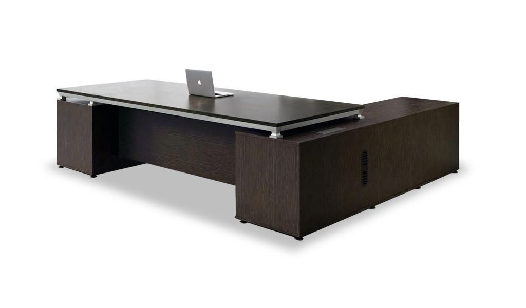 9 feet office table with wireless mobile charger on table top and side cabinet