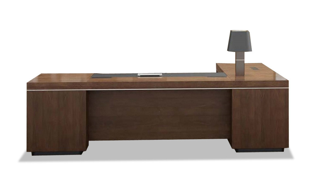 large office table with side return in walnut veneer