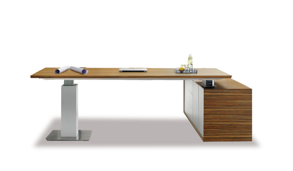height adjustable sit stand office desk in zebra veneer with side cabinet
