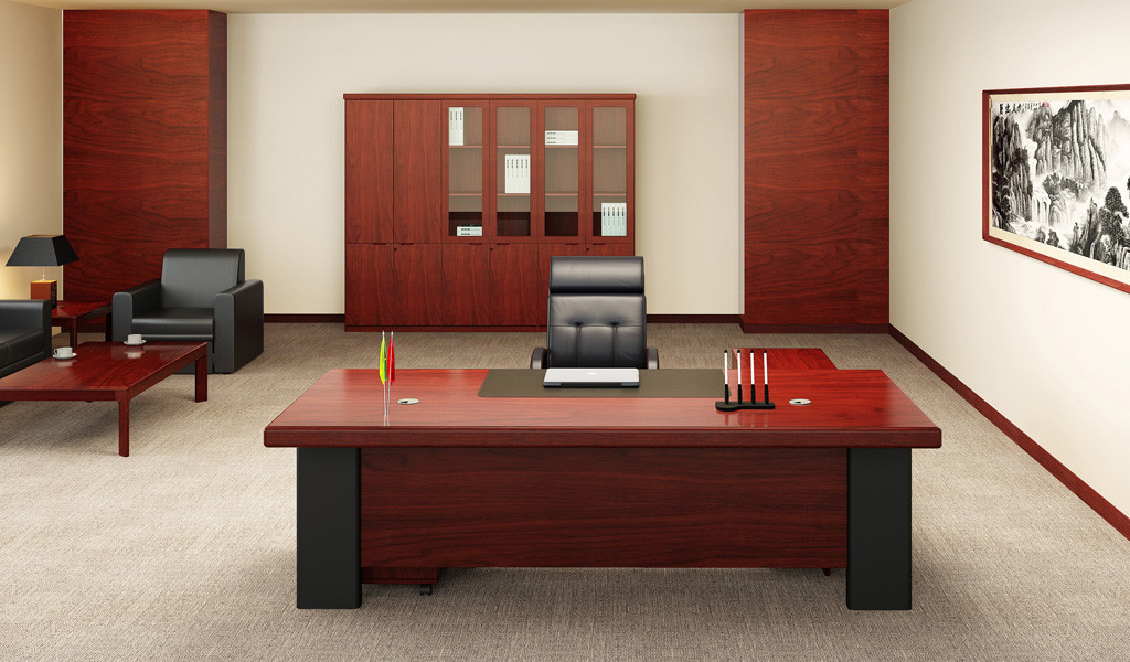 elegant office room with wooden desk, leather chair and rear storage cabinet