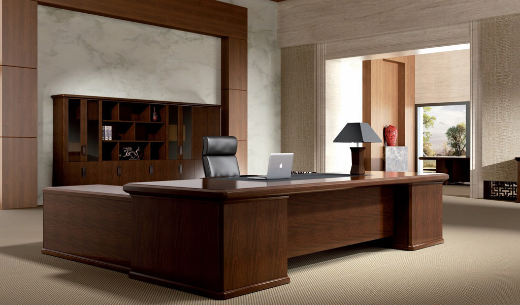 elegant office cabin with a classical office desk