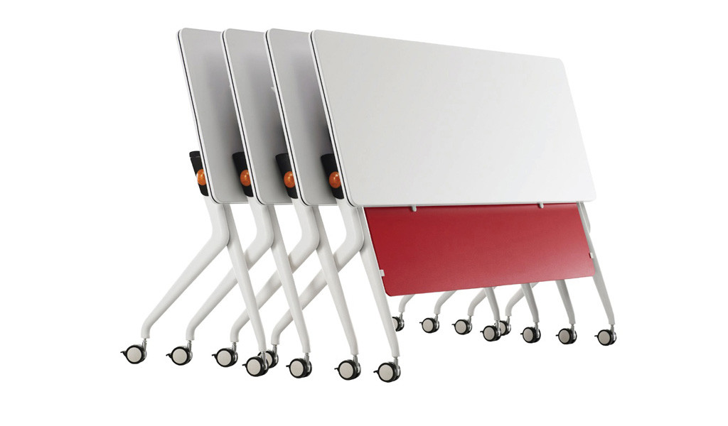 modular training table with foldable white top and castors