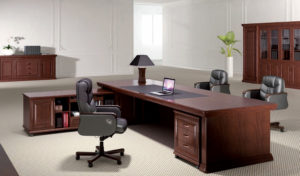 solid wood office table with leather chairs
