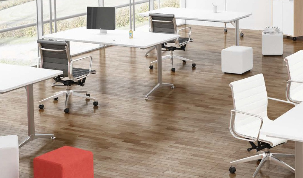 modular tables and chairs in meeting room