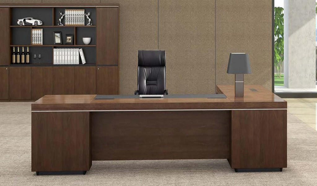 office cabin with large office table in walnut wood finish