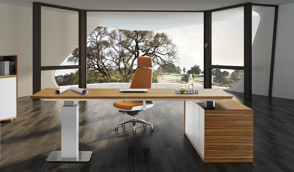 futuristic office with premium height adjustable office desk in zebra veneer