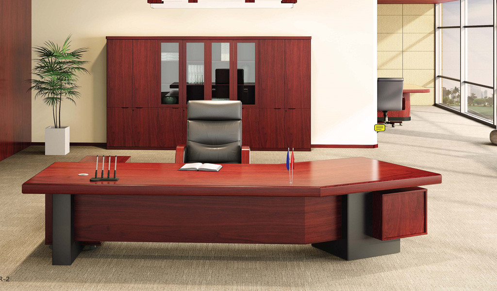 office cabin with curved top table, leather chair and large rear storage cabinet
