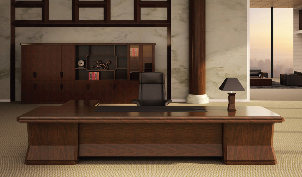 luxurious office cabin with classic executive desk in wood