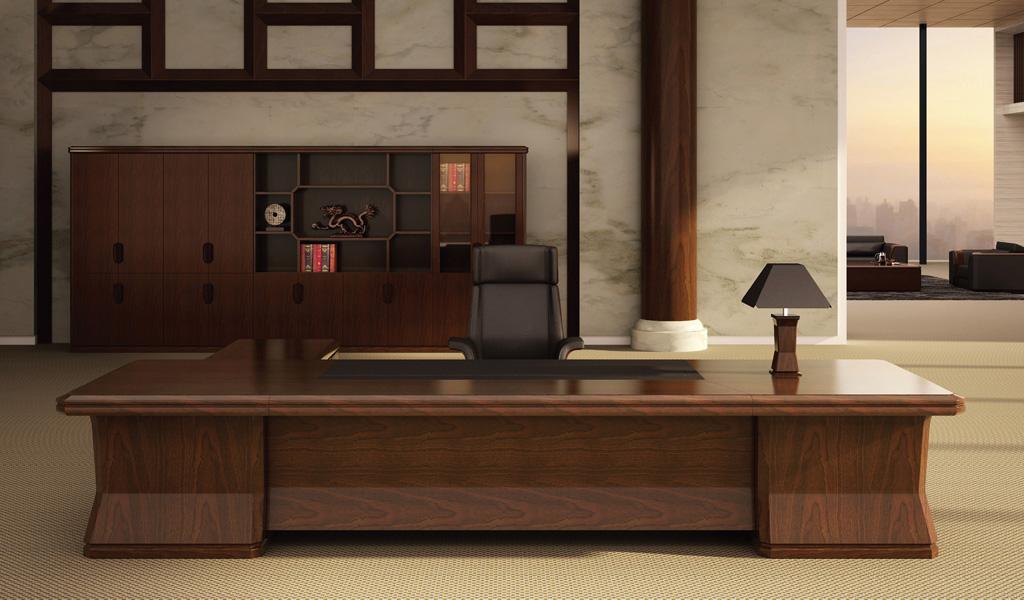 Imperial Office Desk In Walnut Veneer Boss S Cabin