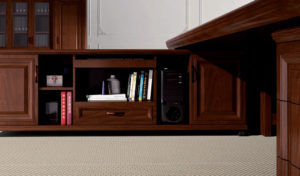 office table side cabinet in solid wood finish