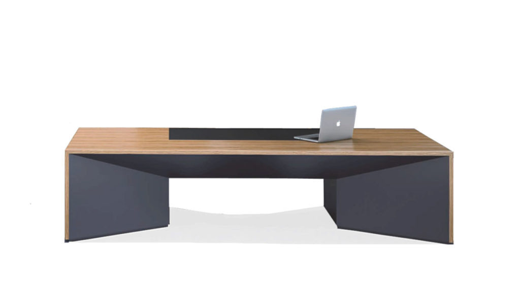 office table in zebra veneer and leather