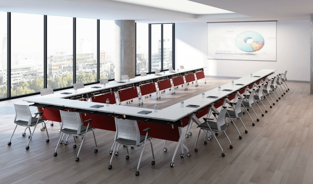 corporate training room with modular meeting table and chairs