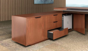 office desk with side cabinet having three drawers