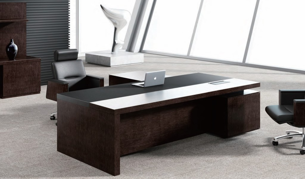 luxurious office cabin with office table in leather and dark wood