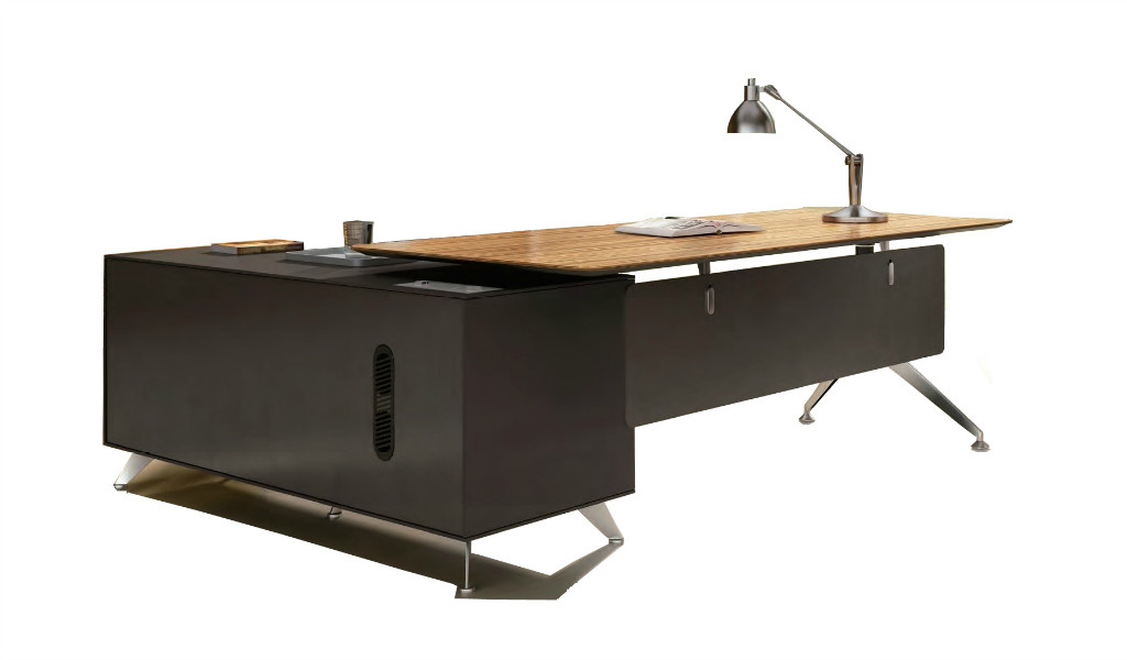 modern office desk in zebra veneer finish