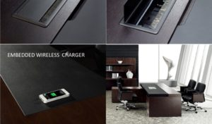 dark wood office table with embedded wireless mobile charger