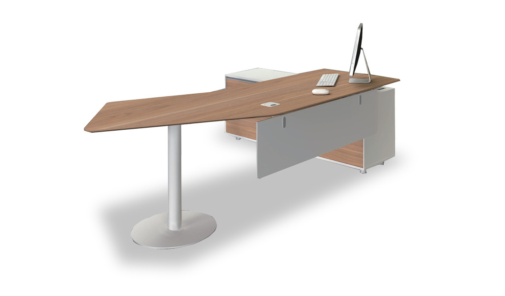 ergonomic office desk with curved top
